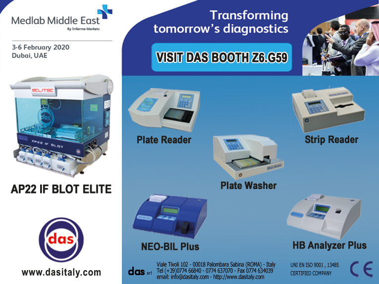 """<h5>DAS exhibits at MEDLAB 2020</h5>  <p>Das will be present at<a class=""""event_href"""" target=""""_blank"""" href=""""https://www.medlabme.com"""">MEDLAB</a> from 3rd to 6th of February 2020, Booth Z6.G59, where will be displayed the instrument <a class=""""event_href"""" target=""""_blank"""" href=""""http://www.dasitaly.com/NewSite/wordpress/scheda_ap_22_if_blot_elite/"""">AP22 IF BLOT ELITE</a> and the Stand Alone instruments line </p>"""